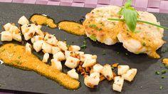 Saber cocinar - Hamburguesa de pescado con pesto y sepias
