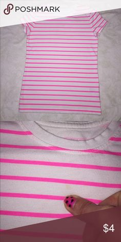Cherokee striped short sleeve shirt White with pink stripes. 2nd picture is pointing out a very Unnoticeable spot on the shirt. Cherokee Shirts & Tops Tees - Short Sleeve