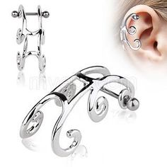 Surgical Steel Sleigh Cartilage Earring by Every Body Jewelry from Inked Shop. Saved to 💍 Jewelry Box 💍. Cute Cartilage Earrings, Cartilage Ring, Cartilage Jewelry, Helix Earrings, Cuff Earrings, Crystal Earrings, Ear Piercing Helix, Tragus Piercings, Peircings