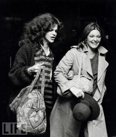 Gilda Radner and Jane Curtin leaving SNL practice. ~j