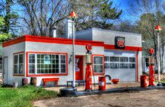 Fill 'er Up and Check the Oil by Tom Mortenson on Capture Wisconsin // I'd driven by this 1930s-style Phillips 66 gasoline filling station many times on Portage County Highway SS. In 2010 it was completely renovated and beautifully restored to serve as a residence and photography studio.