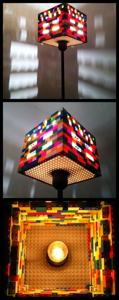 This is a lamp built with LEGO bricks.