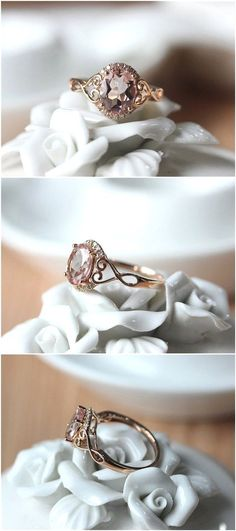 Oval Cut Rose Gold Morganite Engagement Ring / http://www.deerpearlflowers.com/inexpensive-engagement-rings-under-1000/2/