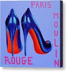 High Heels Painting Canvas Prints - Irish Burlesque Shoes Canvas Print by John  Nolan
