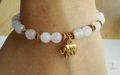 White Jade Elephant Bracelet  Gold/Silver Beaded by DharaJewellery