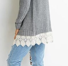 Adding Lace to the bottom of a cardigan or sweater.