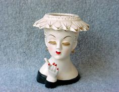 Vintage Lady Head Vase Irice Japan White Flower by Kissisjustakiss