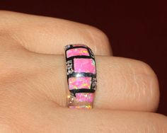 pink-fire-opal-Cz-ring-Gemstone-silver-jewelry-Sz-8-exquisite-modern-WB8CE