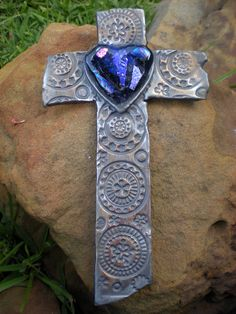 Cobalt and Purple Corazon Wall Cross by on Etsy Religious Symbols, Religious Art, Cross Love, The Cross Of Christ, Wall Crosses, Cross Jewelry, Cross Paintings, Rosaries, Love Blue