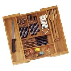 Lipper Bamboo Expandable Flatware Drawer Organizer by Lipper International. $47.99. Hand-wash, wipe with corn/canola oil to preserve shine. Eco-friendly, sturdy bamboo, natural honey color. Bamboo is naturally anti-microbial. 13L - 23L x 18W x 2.625H in.. Expands to organize items in a range of sizes. About Lipper International Lipper International provides exceptionally valued kitchen, home & office organizers including the Soho Spice Collection; single serve coffee ...