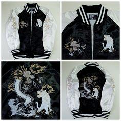 Vintage Japanese Traditional Japan Slap Dragon Ryu Tora Tiger Tattoo Art Embroidery Embroidered Bomber Sukajan Souvenir Jacket - Japan Lover Me Store