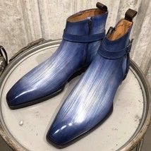 lowest price e1f88 b3a02 Handmade Leather Patina Ankle High Boots Formal Men Shoes Custom Grade Boots  - €159,