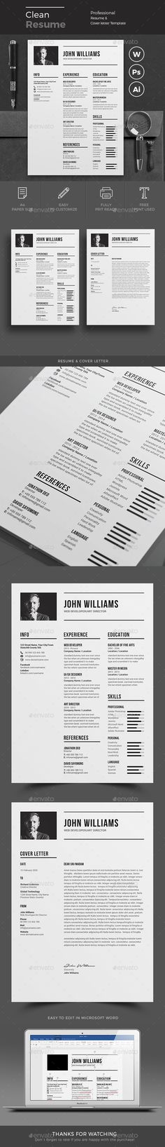 Resume Cv template, Professional resume and Resume cv - instant resume builder