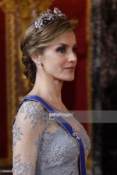 Queen Letizia of Spain receives the President of Colombia Juan Manuel Santos at the Royal Palace on March 2, 2015 in Madrid, Spain.