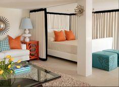 studio apartment design room divider curtain home decor ideas
