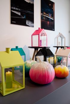 neon ombre pumpkins