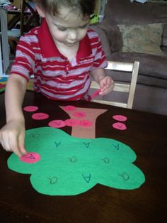 Apple Tree Game :: love this idea but could use all letters and match uppercase with lowercase Apple Activities, Spring Activities, Alphabet Activities, Activities For Kids, Fall Preschool, Preschool Learning, Kindergarten Activities, Literacy Work Stations, Alphabet Sounds