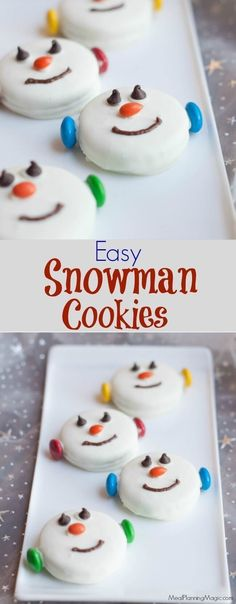 34 Fantastically Festive Christmas Dessert Ideas These Easy Snowman Oreo Cookies are so festive, delicious and great for kids to help make too. A perfect no bake treat option and only a few ingredients, they come together quickly too. Christmas Snacks, Christmas Cooking, Holiday Treats, Holiday Recipes, Christmas Baking For Kids, Christmas No Bake Treats, Christmas Cookies For Kids, Christmas Candy, Christmas Goodies