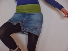 upcycling a jeans skirt upside down :) hehe Heidis kleine Schwester - rebelle upcycling