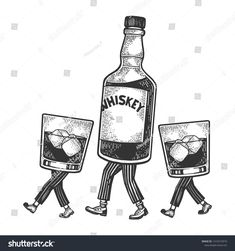 Whiskey alcohol bottle with ice and glasses walks on its feet sketch engraving vector illustration. Black and white hand drawn image. Bottle Drawing, Bottle Tattoo, Dark Drawings, Alcohol Bottles, Funny Tattoos, Flash Art, Line Illustration, Bottle Art, Traditional Tattoo