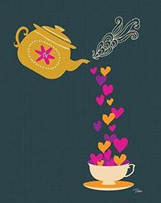 Tea Love Poster Print by Teresa Woo x Infusion Bio, Tea Illustration, Tea Quotes, Tea And Books, Cup Art, Cuppa Tea, Love Posters, My Cup Of Tea, Tea Recipes