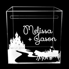 """Acrylic Castle Fairytale Wedding Card Holder Personalized with Names and Wedding… Clear Acrylic Wedding Card box Holder. 12""""x12""""x12"""" {Money Holder} Designed. Laser Engraved. Laser Cut. Bespoke design. Can be personalized or designed to fit the theme of your wedding or special event."""