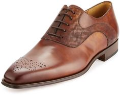 Magnanni for Neiman Marcus Vekio Leather Lace-Up Oxford, Tobacco