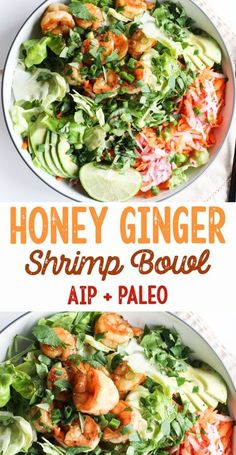 AIP and Paleo Honey Ginger Shrimp Bowls - gluten free, dairy free, nut free, egg free [low allergen and anti-inflammatory recipes from rally pure] autoimmune protocol compliant