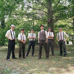 Vintage Wedding: Men's Attire Groom and groomsmen attire - themed wedding Unique Groomsmen Attire, Mismatched Groomsmen, Groomsmen Suspenders, Groomsmen Fashion, Mens Attire, Bridesmaids And Groomsmen, Groom Attire, Groomsman Attire, Wedding Suspenders