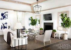 Neutral Room with Fiddle Leaf Fig - Atlanta Homes - Sea Island Getaway by Alissa Portman