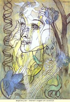 """Francis Picabia, """"Ridens"""", Gouache and Watercolor on Cardboard, c.1929."""