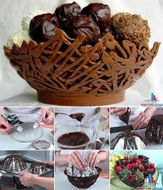 Pretty Food - Dramatic Display - lacy chocolate bowl - easy to make! Cover a bowl as shown, melt your chocolate and drizzle over the upturned bowl in zigzags. Let cool and voila