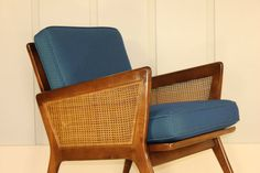 Danish Style Lounge Chair Walnut Cane Blue by RetroSpecList