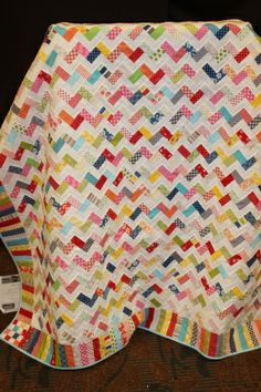 Scrappy chevron - lovely!  The red pops and pulls the other colors together!