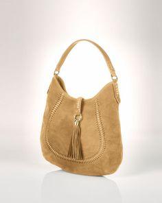 """Indian Cove Suede Hobo - Lauren Lauren Handbags  - RalphLauren.com  13X15X1 w/10"""" strap drop"""