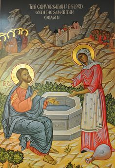 Jesus Samaritan woman at the well Images Of Christ, Bible Images, Religious Images, Religious Icons, Religious Art, Christian Artwork, Christian Images, Byzantine Icons, Byzantine Art