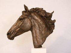 Horse Head Study in Bronze Resin by Kate Woodlock :