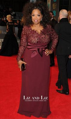 Shop Oprah Winfrey burgundy long-sleeve lace dress at BAFTA 2014 for find Oprah Winfrey dresses and BAFTA red carpet dresses for sale under Winfrey reveals she is 'stitched' into her Stella McCartney gownPlus Size Burgundy Formal Bridesmaids Long African Dresses, Latest African Fashion Dresses, Prom Dresses Long With Sleeves, Lace Dress With Sleeves, Dresses For Apple Shape, Lace Dress Styles, Frack, Classy Dress, Evening Dresses