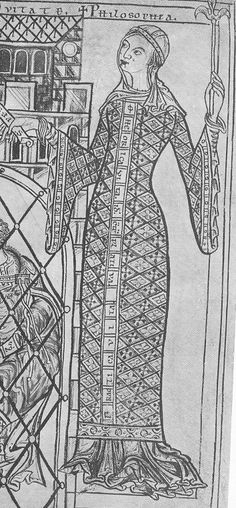 Quite narrow overdress with a full underdress, also very full sleeve linings. Aldersbach Abbey, Cod. lat. 2599, fol. 106 verso,Germany, about 1200, (Munich, Bayerische Staatsbibliothek).