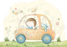 Children Illustration - Nursery - Drive all the way to the dream world - A4 via Etsy