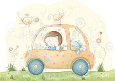Illustration - pépinière - enfants en voiture complètement vers le monde du rêve