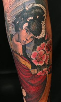 Love her face & the depth of the colors by Jon von Glahn - japanese geish girl color arm sleeve tattoo