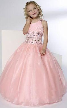 132af9dada8 One Shoulder Pink Style Flower Girl Pageant Wedding Dress Size 2.4.6.8