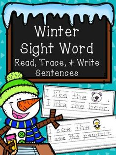Winter Trace & Write Sight Word Sentences can be used as a low prep center. Simply print and laminate for use as tracing/handwriting practice and/or sight words simple sentences practice for beginning readers. This product could also be printed, cut, and stapled into a sight word take home reader.
