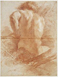 """""""Nude from behind"""" - Gian Lorenzo Bernini (Italian, seated male figure back drawing, Male Figure Drawing, Guy Drawing, Life Drawing, Drawing People, Painting & Drawing, Figure Drawings, Trois Crayons, Gian Lorenzo Bernini, Italian Artist"""