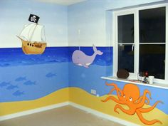 Cartoon Pirate Mural painted in a little boys bedroom. Simple style featuring bright colours and cartoon sea creatures including a whale and an octopus. Classroom Wall Decor, Classroom Walls, Little Boy Bedroom Ideas, Kids Bedroom, Sea Murals, Wall Murals, Chambre Luca, Pirate Bedroom, Sunday School Rooms