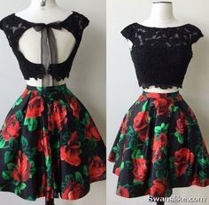 Hot Sale Comfortable Homecoming Dresses Two Piece, A-Line Prom Dresses, Prom Dresses Short, Homecoming Dresses Lace Floral Homecoming Dresses, Hoco Dresses, Black Prom Dresses, Dance Dresses, Formal Dresses, Elegant Dresses, Sexy Dresses, Dress Black, Two Piece Homecoming Dress