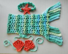 Crochet Mermaid Tail Skirt Swimsuit Beach Cover Up Photography Prop for Baby and Girls Sizes