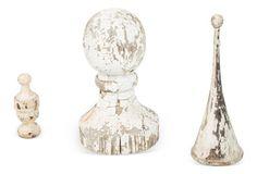 White Wood Finials, Set of 3
