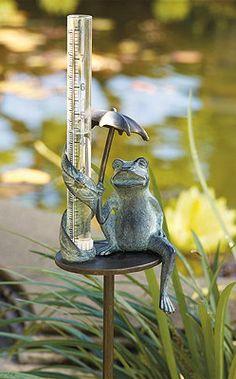 Umbrella Frog Rain Gauge. Love Frontgates frog collections.